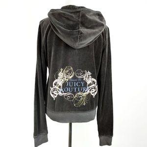 Juicy Couture Coal Grey Velour Jacket Hoodie NWT